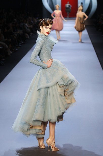 A model presents a creation by British designer John Galliano as part of his Haute Couture Spring-Summer 2011 fashion show for French fashion house Dior in Paris
